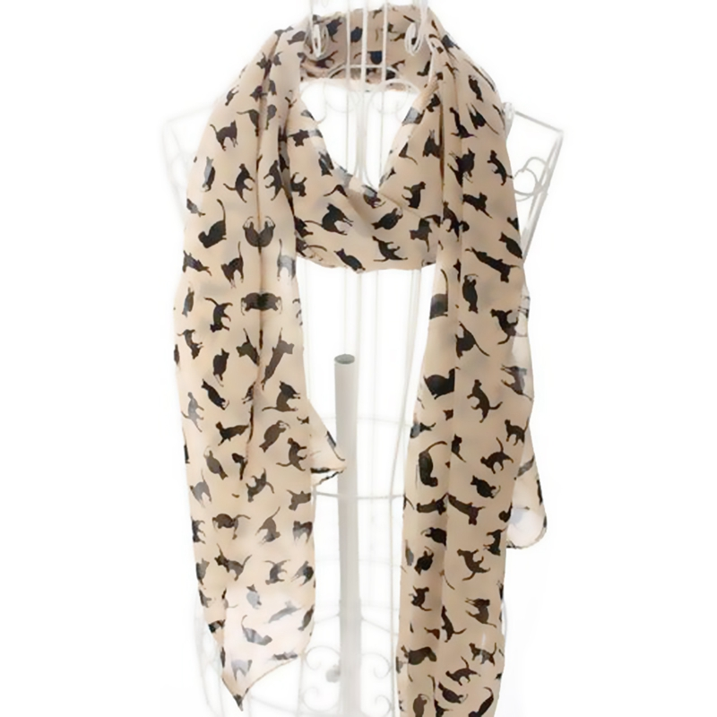 Katze Druckschal Promi-Mode-Schal Schals wickeln Damen Tier neue Soft D5B5