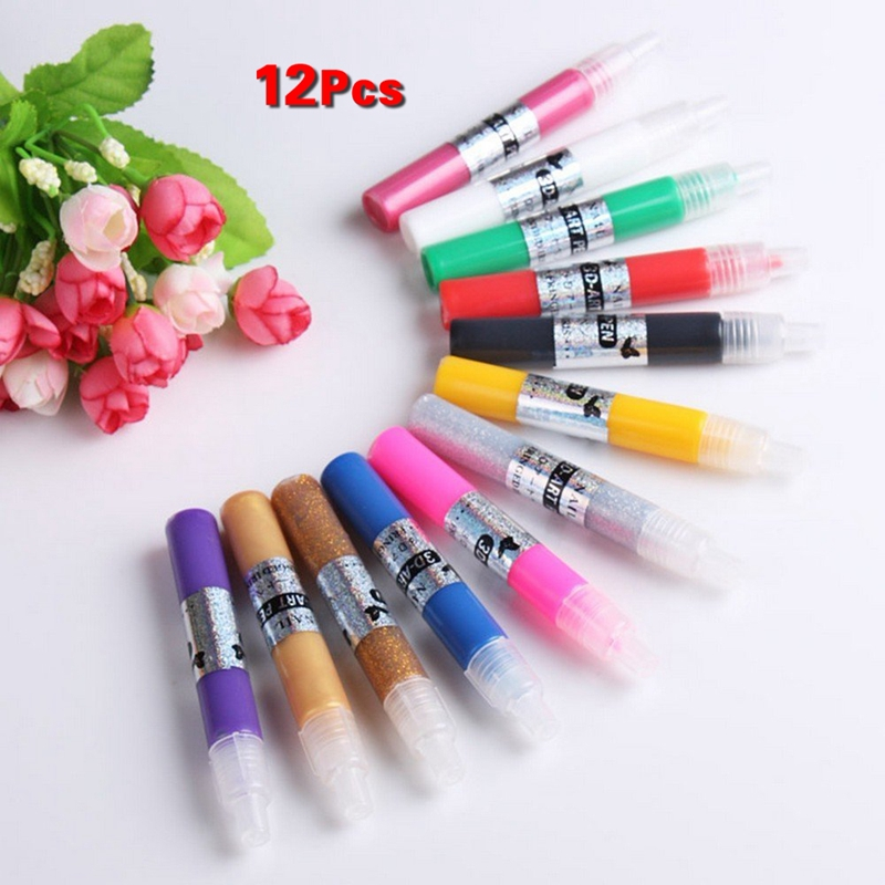 New 12 Colors DIY 3D Nail Art Painting Polish Pen Set Girl Beauty ...