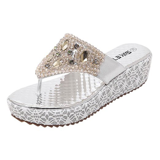 damen sandalen faux strass perlen flip flops sommer pantoffeln mit keilabsatz p3 ebay. Black Bedroom Furniture Sets. Home Design Ideas