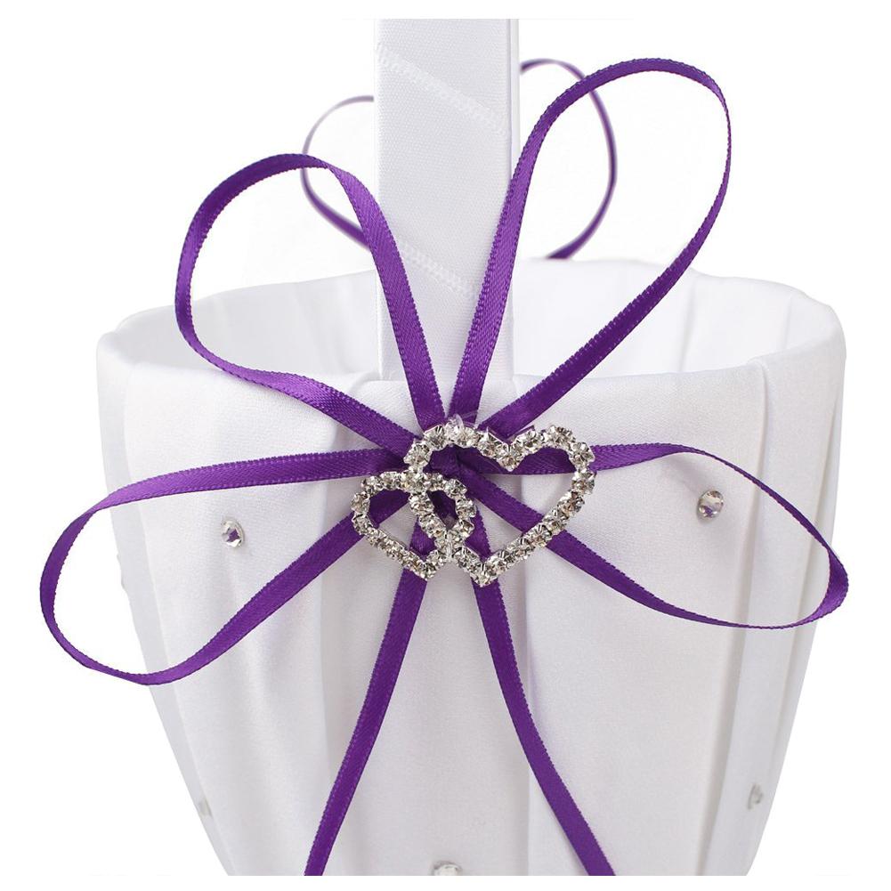 double heart wedding flower girl basket white satin rhinestone d cor z7u9 ebay. Black Bedroom Furniture Sets. Home Design Ideas