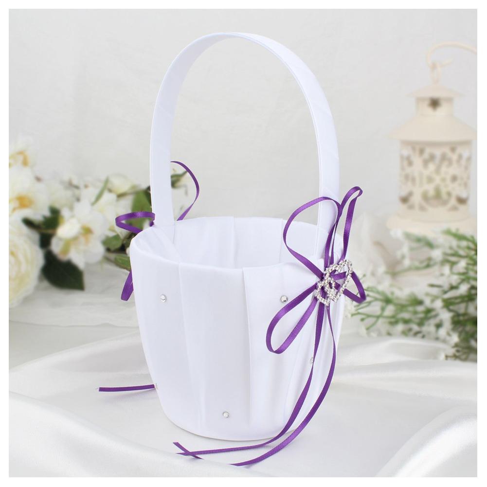 double heart wedding flower girl basket white satin rhinestone d cor v9e6. Black Bedroom Furniture Sets. Home Design Ideas