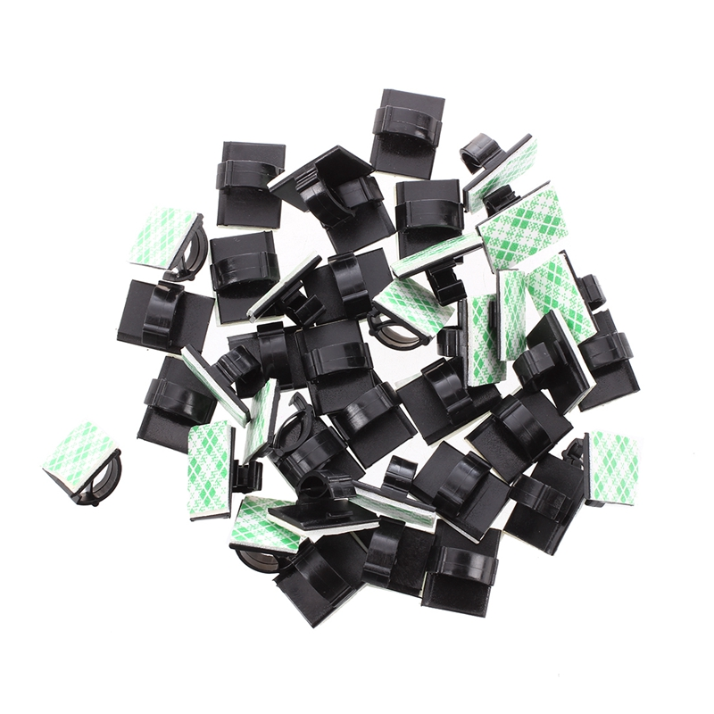50pcs-Abrazadera-cables-plastico-negro-soporte-cable-10mm-WCC-2-base-M2L9