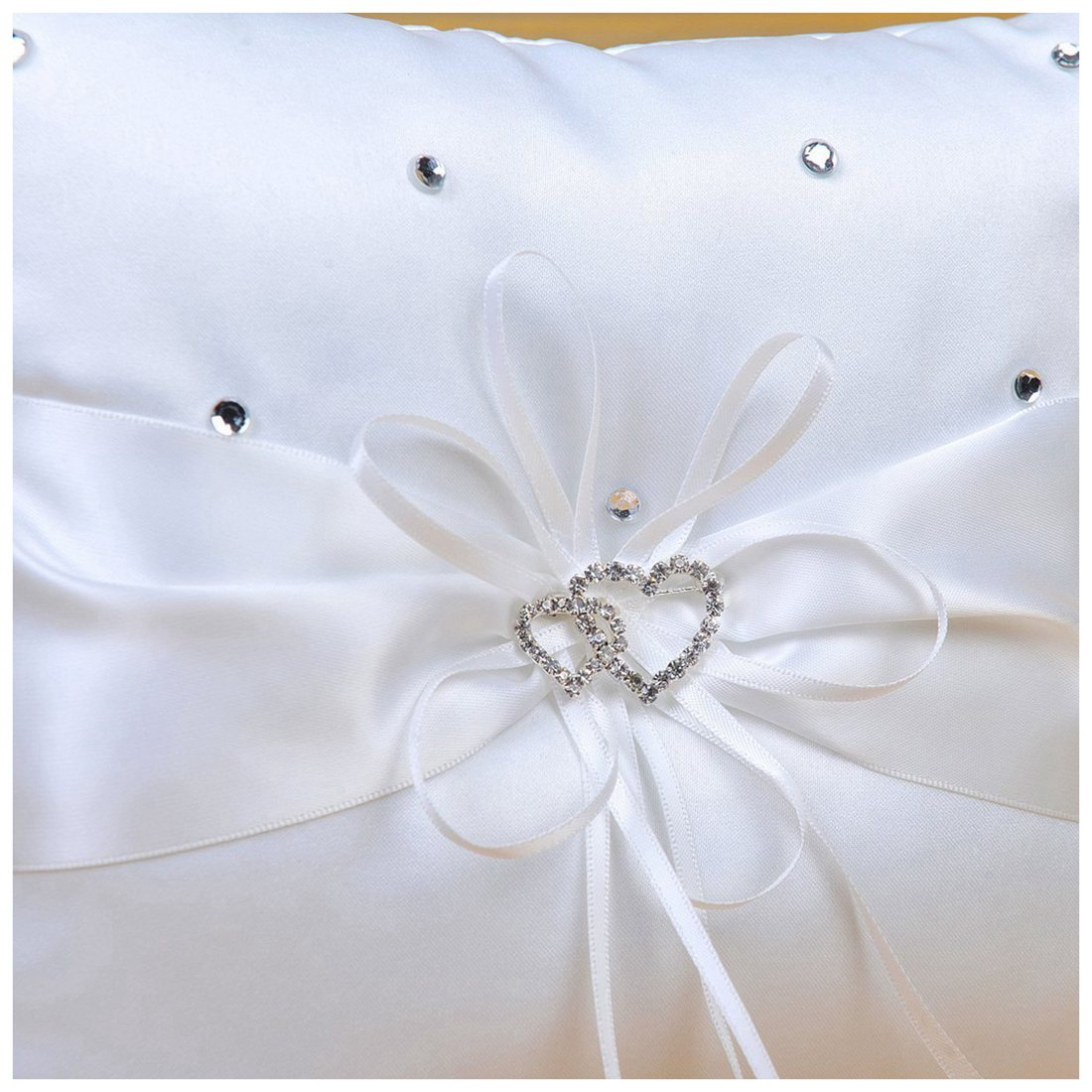 SATIN DOUBLE HEARTS For Decoration Wedding Ring Bearer