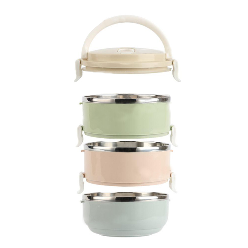 1 layer stainless steel thermal insulated lunch box food container round s8j2 ebay. Black Bedroom Furniture Sets. Home Design Ideas