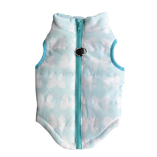 5X-Winter-Warm-Dog-Clothes-Vest-Armor-Puppy-Jacket-Light-blue-white-bow-H2N7