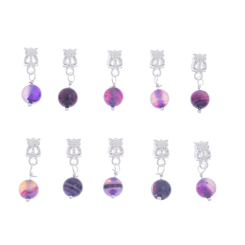 3X-20-Purple-Agate-Onyx-Dangle-Beads-Fit-Charm-H7Q6-DP