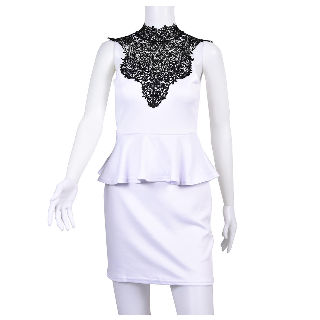 Lace-Dress-Lace-High-Necked-Lady-Clothes-Sleeveless-White-M-Q6F3