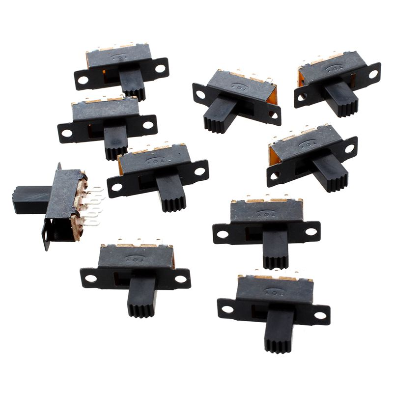 SODIAL-R-10-Pcs-6-Broches-2-Positions-DPDT-On-On-Mini-Interrupteur-a-glissiere
