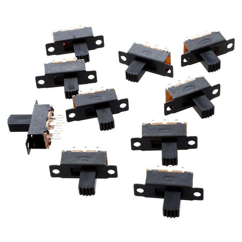 10 Stueck 6 Pins 2 Positionen DPDT On// On Mini Schiebeschalter W D2 R SODIAL