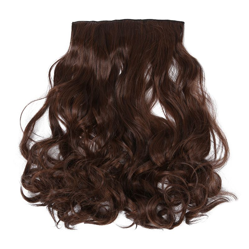 One Piece Clip In Synthetic Human Hair Extensions Long Wavy Curly