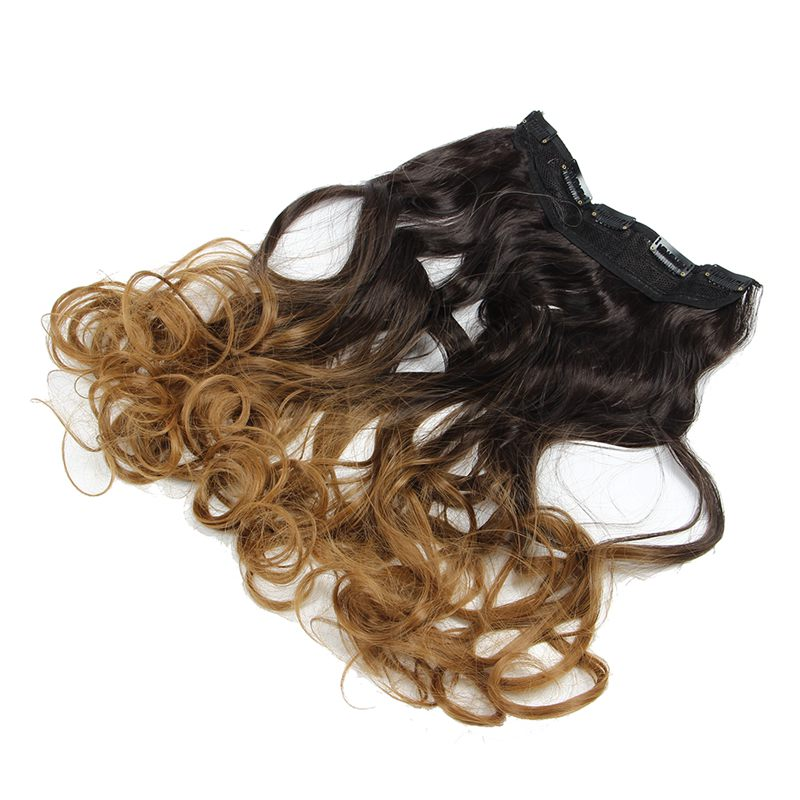 60cm One Piece Clip In Ombre Curly Wavy Hair Extensions Synthetic