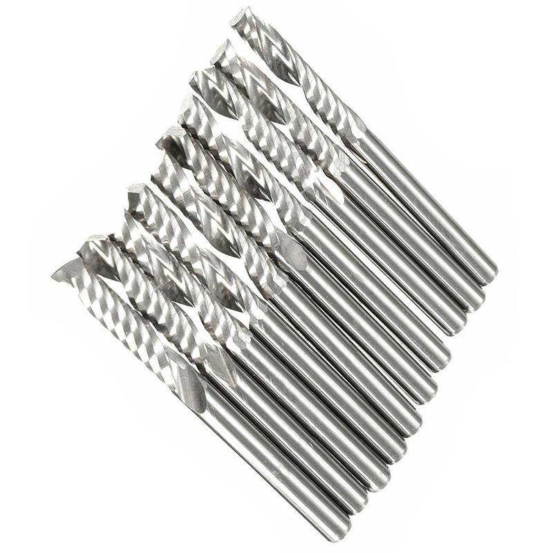 10X 1//8 inch Carbide Flat Nose End Mill CNC Router Bits 1-Flute Spiral 1 H6Z5 2X