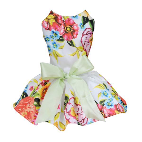 BUFFY-PET-HOME-Floral-Satin-Dog-Dress-XS-White-S9R6