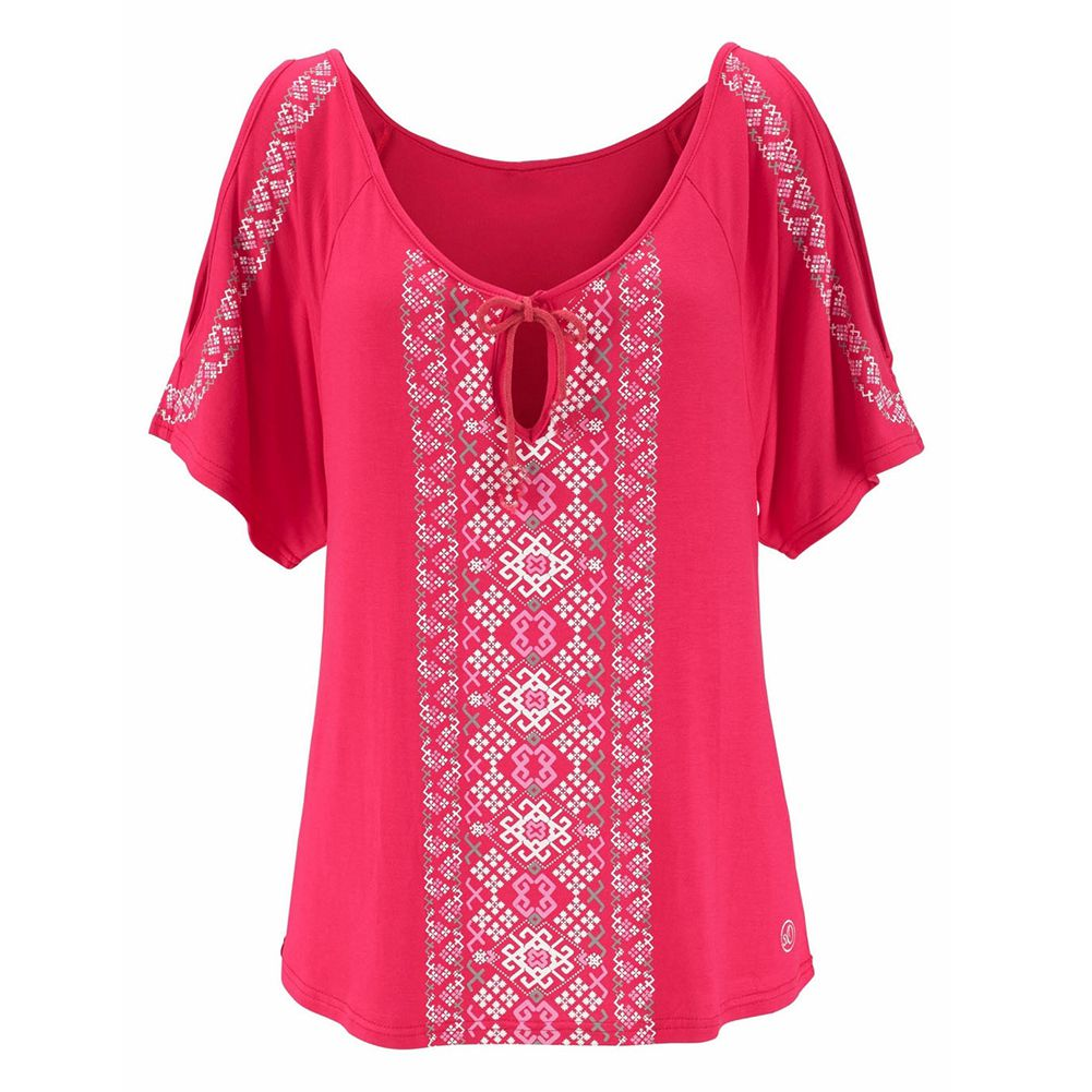 Women-039-s-New-Fashion-Summer-Ethnic-Vintage-Print-Off-Shoulder-T-Shirts-Short-A2T5