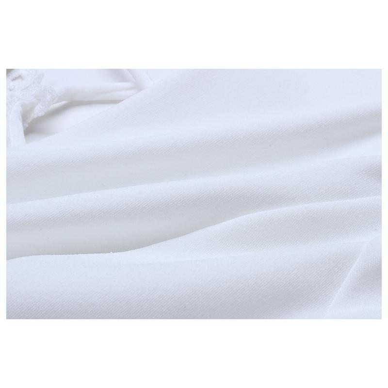 Frauen Weiß Häkeln Floral Bluse Langarm Spitze Patchwork Quaste Cropped Shi C3R5