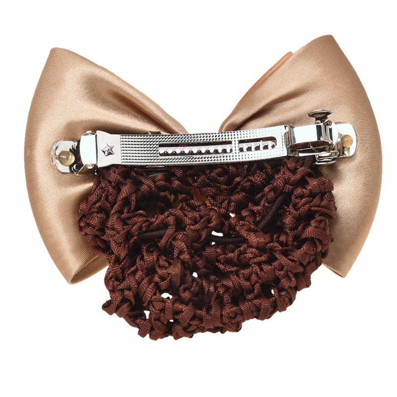 Damen Haarnetz Beige Strass Intarsien Schleife Haarspange Snood Netz O1S9