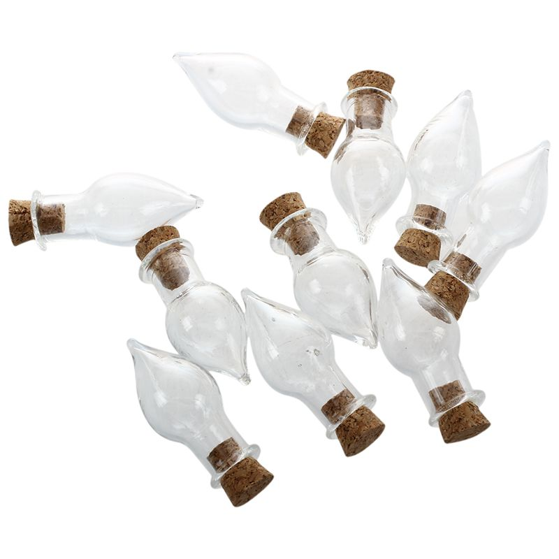 Mini Glass Bottles Jars with Cork Wish Note Craft Bottle Pack of 10 Drop Sh D6I6