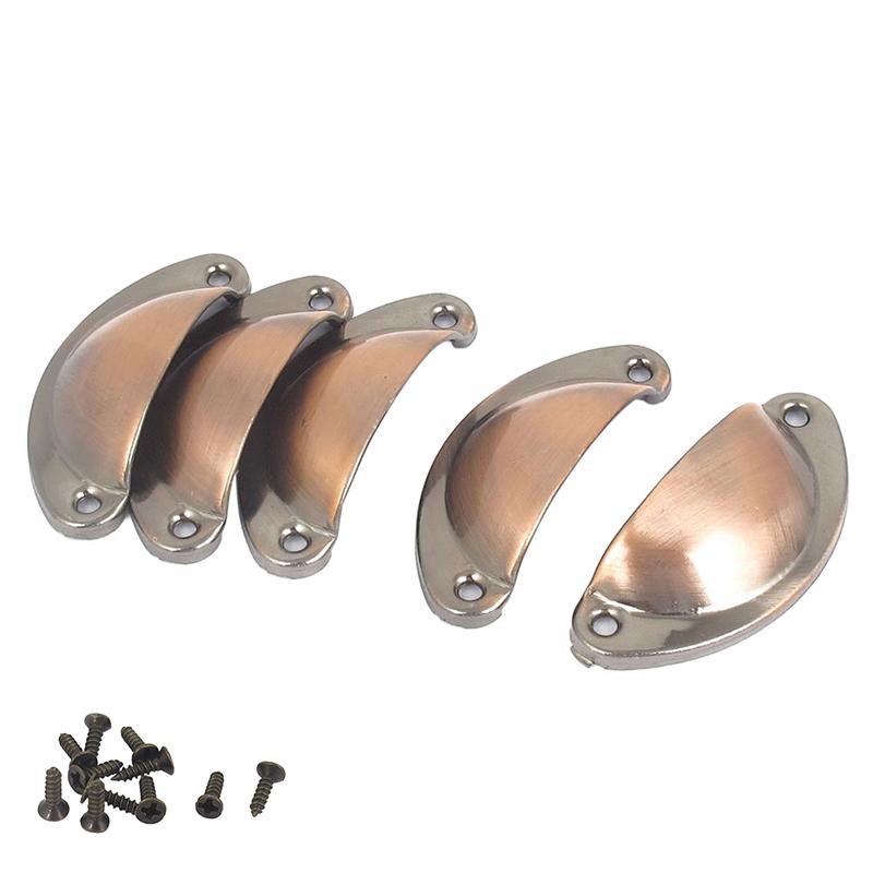 Casa-de-la-cascara-del-Metal-diseno-pomos-puerta-5-piezas-con-tornillos-X9P6