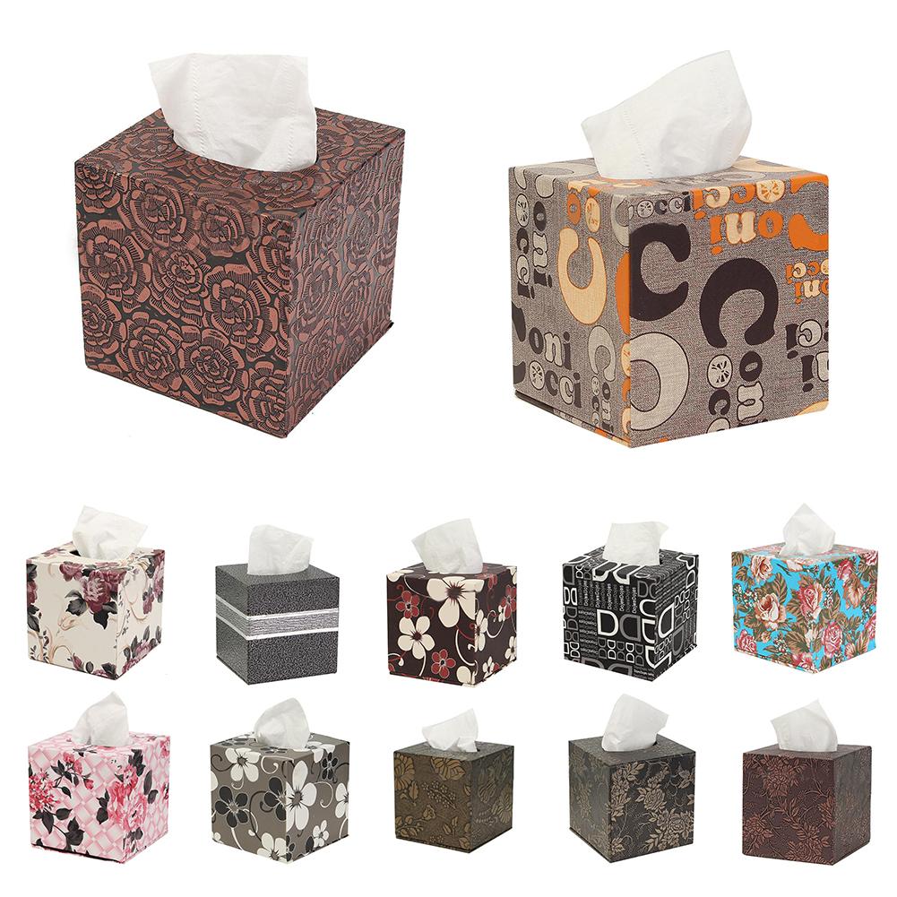 Square-Leather-Home-Room-Car-Hotel-Tissue-Box-Cover-Paper-Napkin-Holder-CaseA6Q3