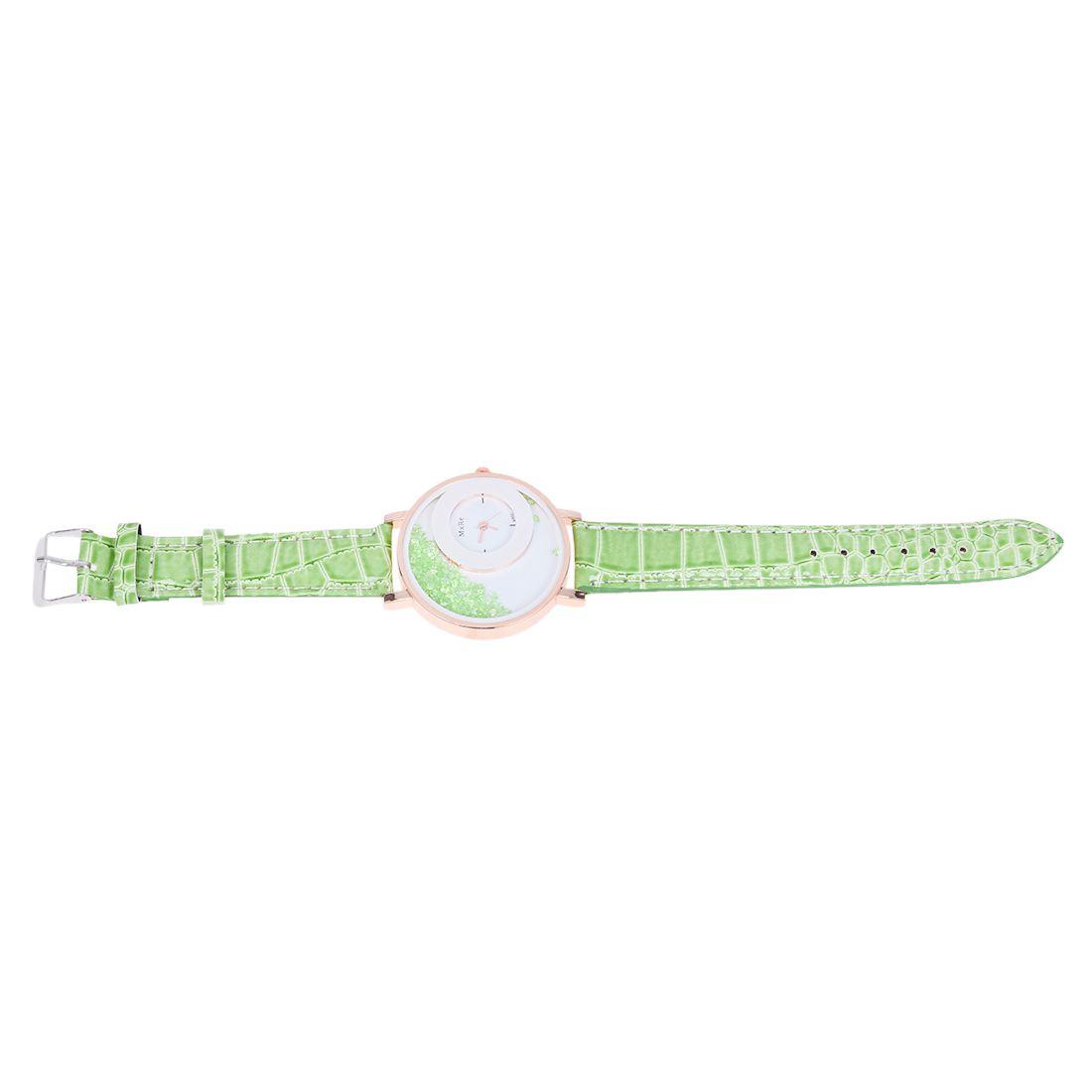 5X-MXRE-Women-039-s-Rhinestones-Faux-Leather-Wrist-Watch-Green-T3U2