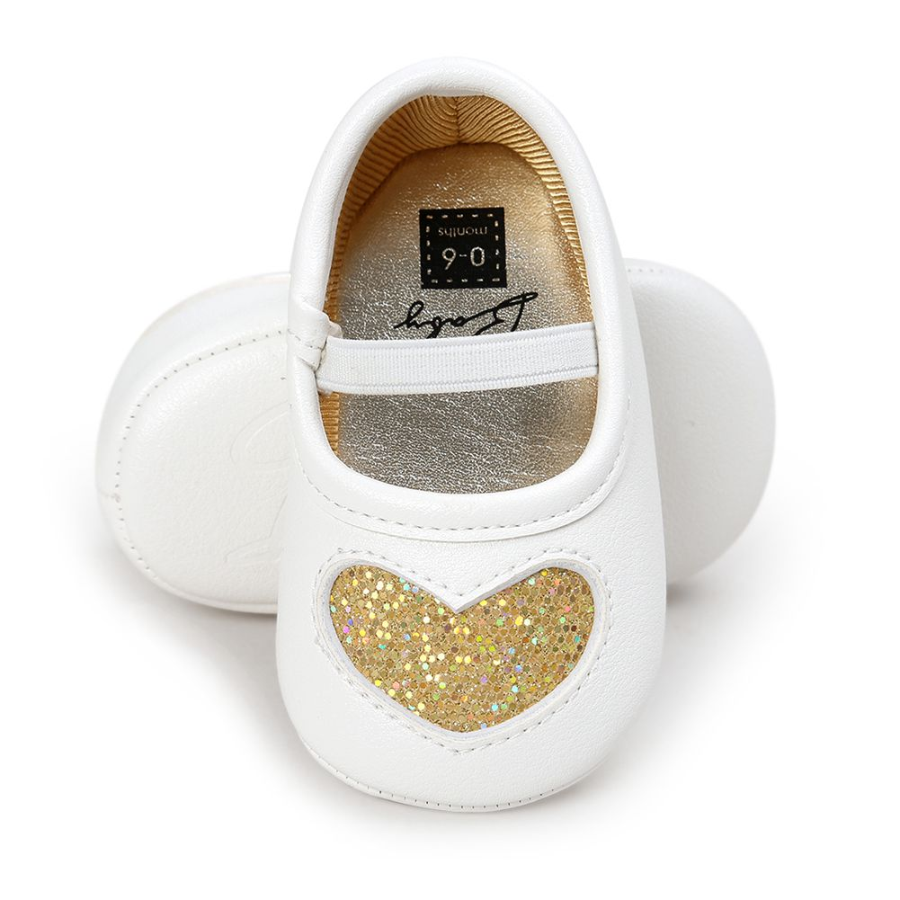 Leather Newborn Baby Girls Princess Heart-Shaped Soft Bottom Baby Shoes Sil Q6R1