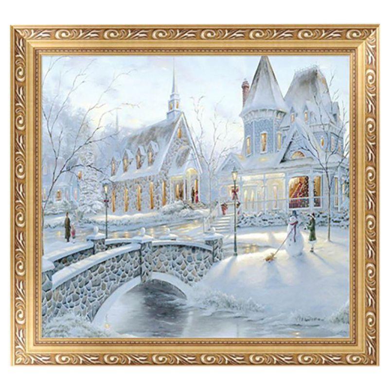 5D Diamant Malerei Weihnachten Schnee Gebaeude DIY Kreuzstich ...
