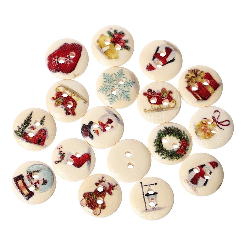 100pzs Botones de madera de costura de albume de recortes pintado de 2 agujeroM5