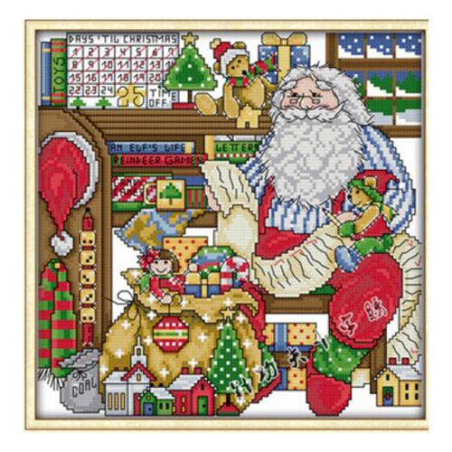 1-Satz-Drucken-Weihnachtsmann-Zimmer-Kreuzstich-11-CT-DIY-Nadel-und-Faden-H-Y1J5