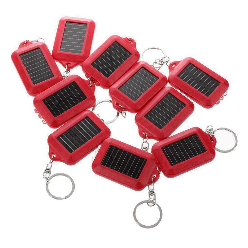 10X Mini Solar Power Wiederaufladbare 3Led Taschenlampe Schluesselanhaenger T7L7