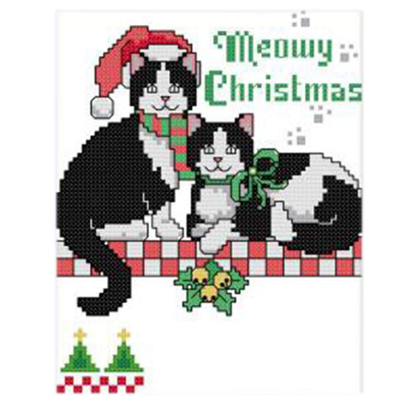 4X(Print 2 Christmas black cat cross stitch 11CT DIY needle wedding Xmas gi R7C4 192090068647
