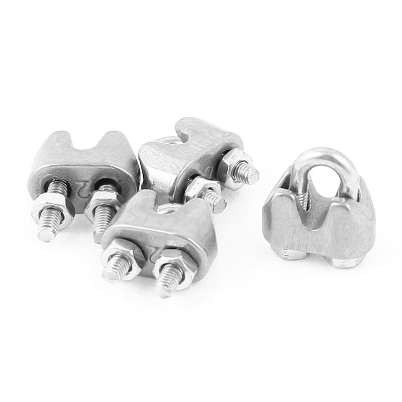 4pcs 2mm Stainless Steel Wire Rope Cable Clamp Fastener Silver G9E7 ...
