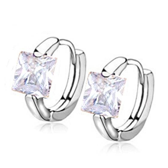 Fashion-Silver-plated-CZ-Stone-Women-039-s-jewelry-Hoop-earrings-earring-Purple-K9T5