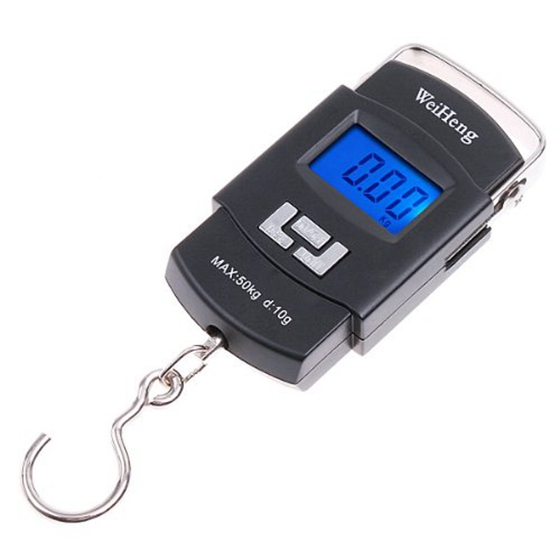 Weiheng 50Kg/10G Mini Digital Hanging Luggage Fishing Weighing Scale Black Y4W6