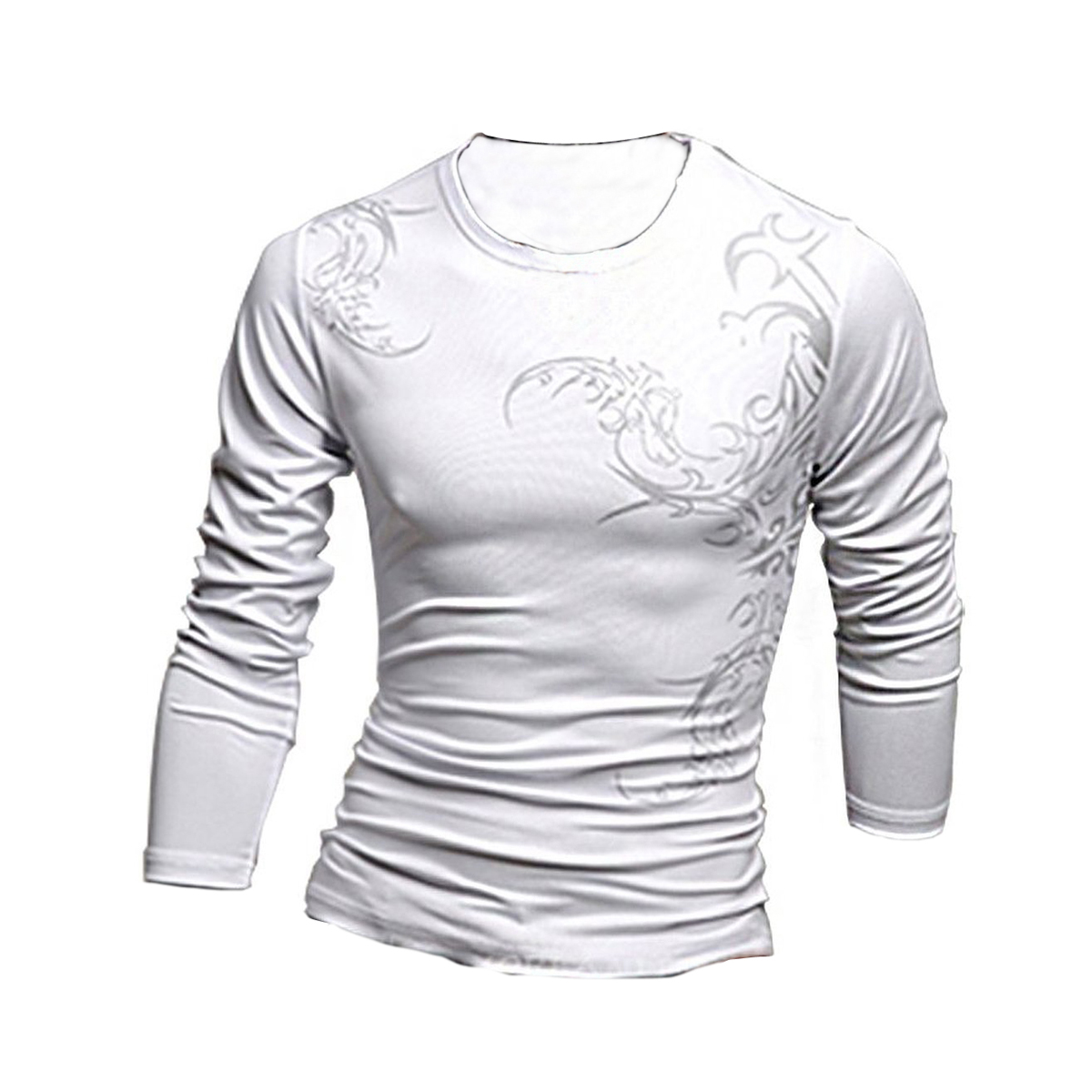Long-Sleeve-Mens-Slim-Fit-Wolf-Tattoo-Crewneck-Casual-T-Shirt-P5G5