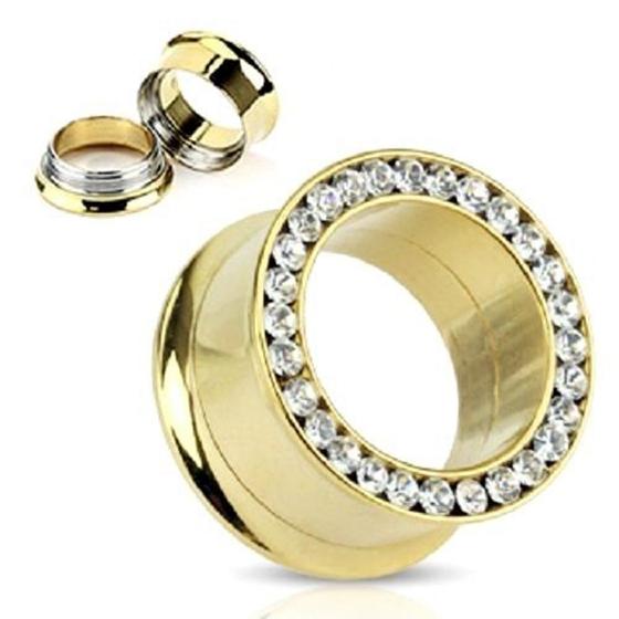 1-Pair-of-Gold-Clear-Gem-Rim-FLARED-SCREW-EAR-PLUGS-Gauges-TUNNEL-Piercing-F7N5