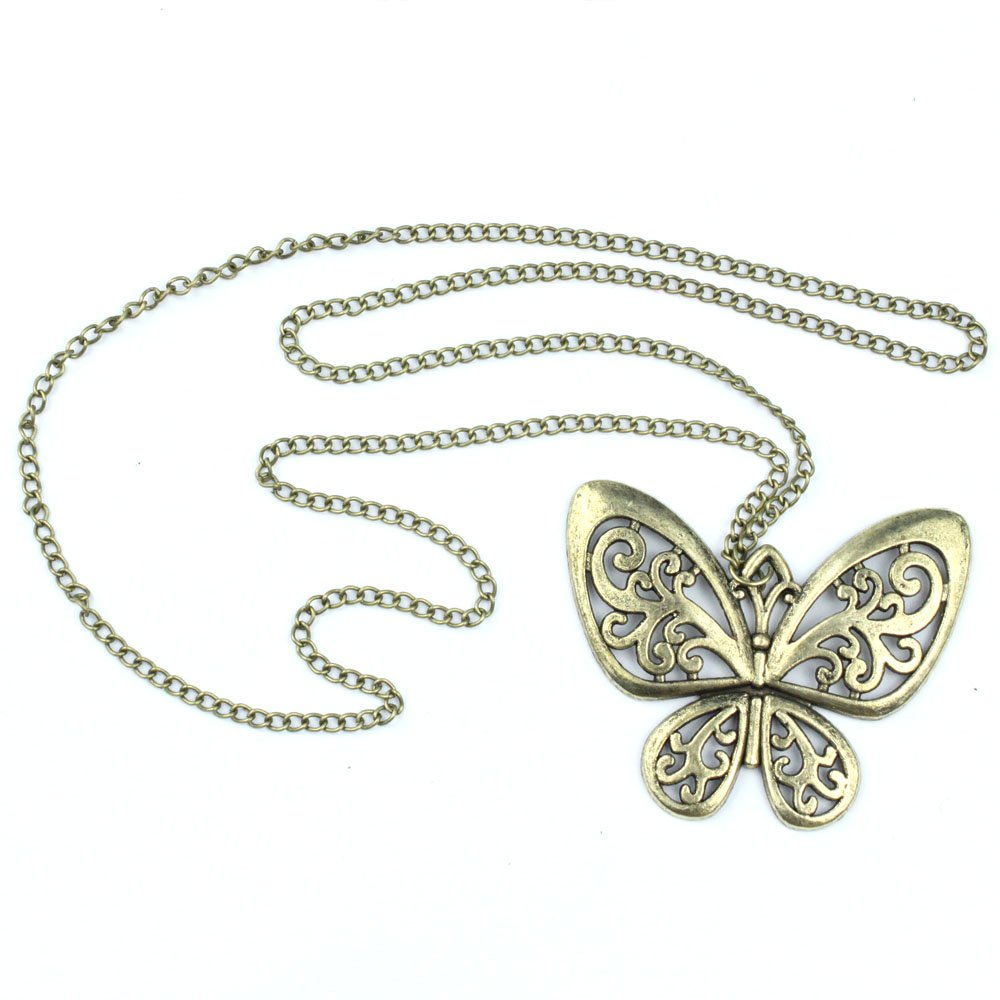 Retro-Classic-vintage-Bronze-butterfly-pendant-necklace-chain-U3F5