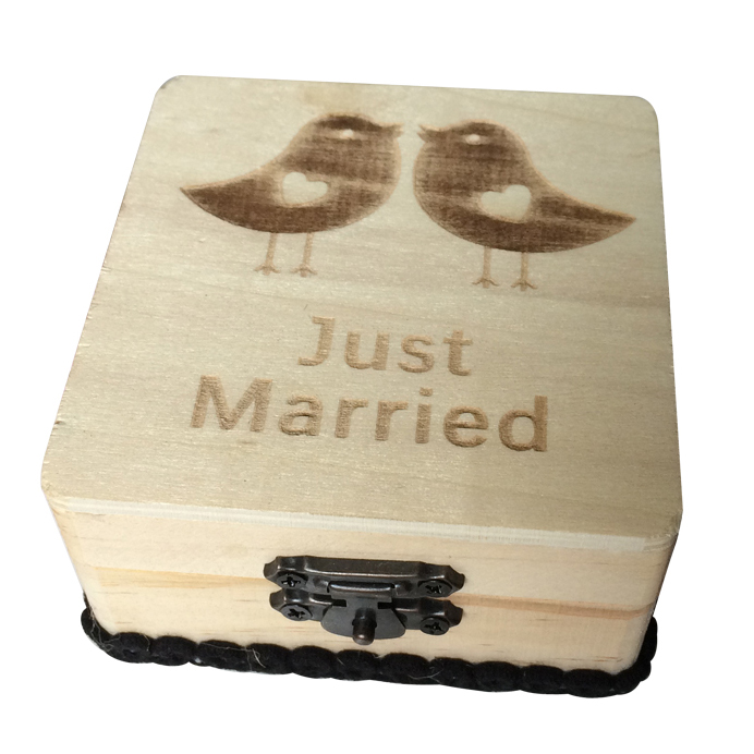 Wedding Ring Box Wood Printed Love Birds and Just Married Wedding