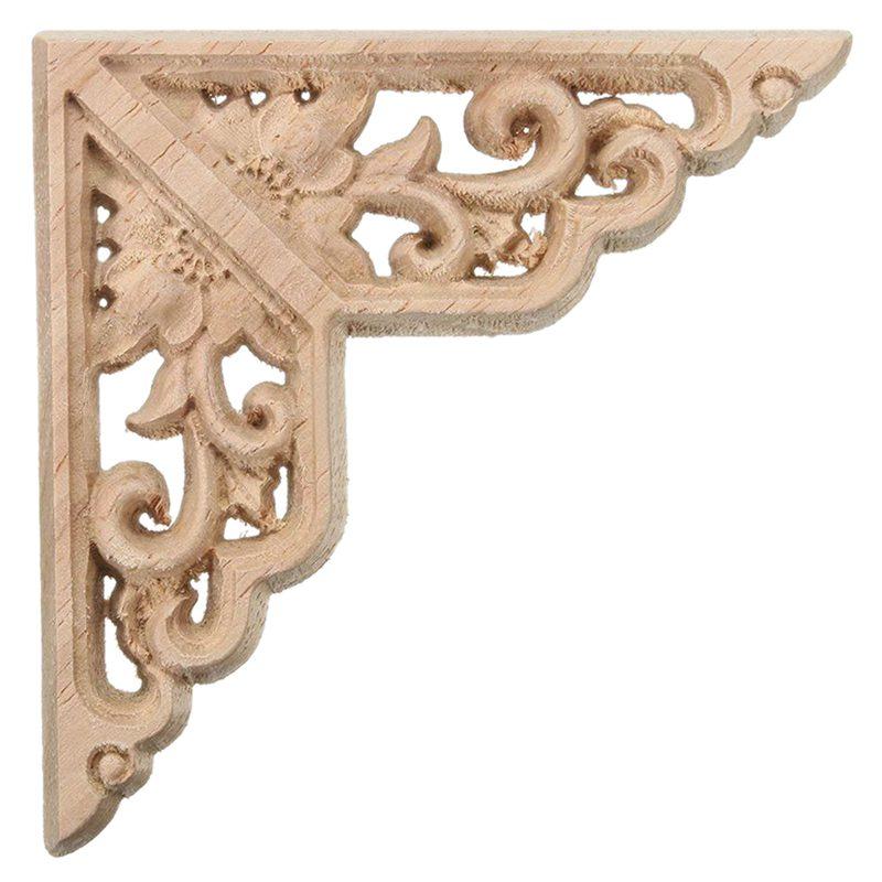 2PCS Wood Carved Corner Onlay Applique Frame Door (L) U2R5 ...