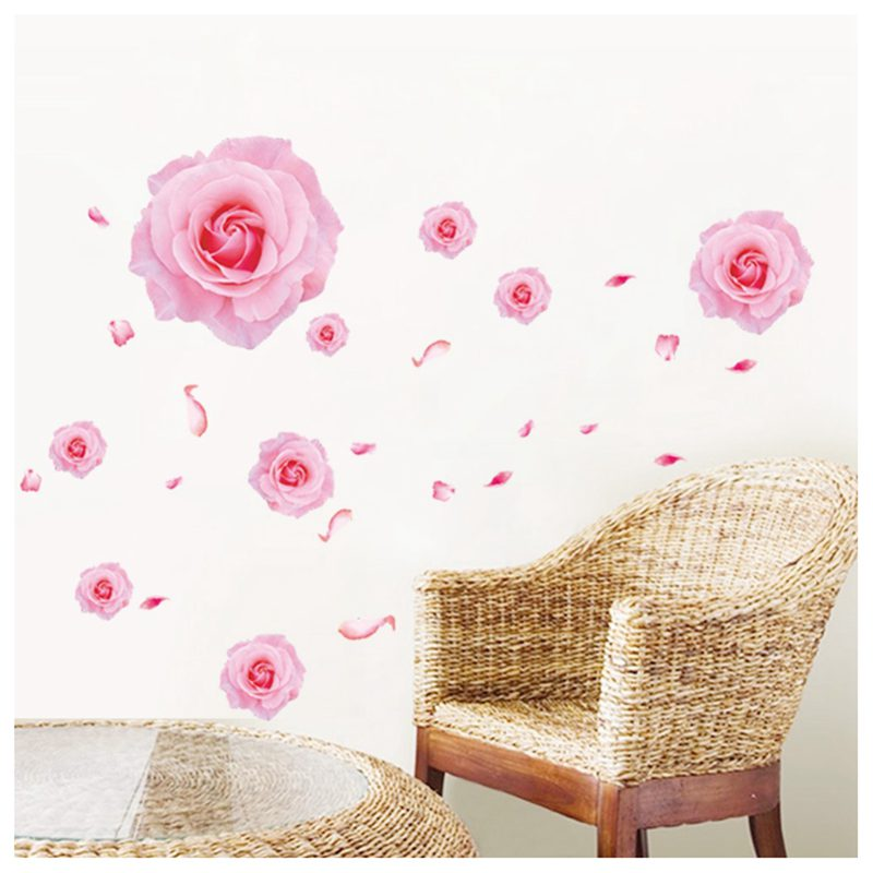 3D Roze rozen bloemen muurstickers voor woonkamer slaapkamer TV ...