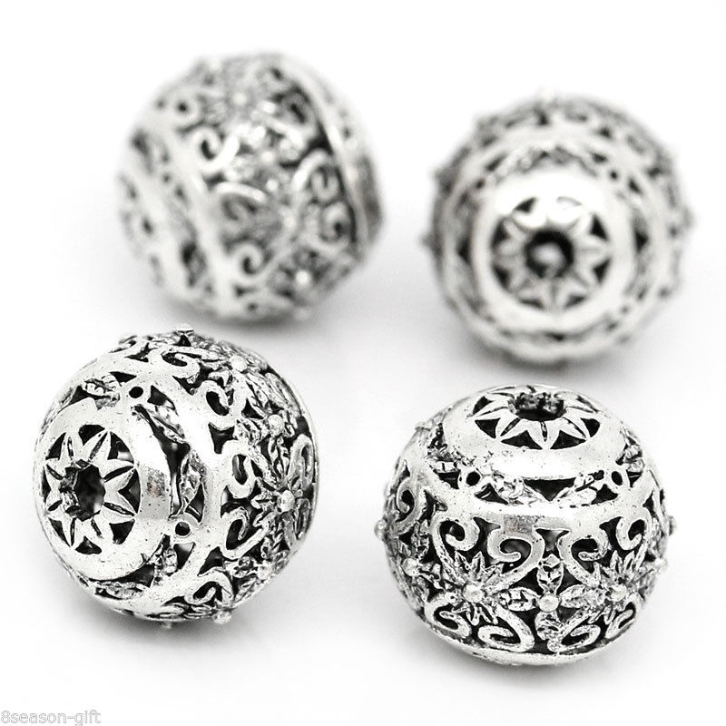 10PCs Hollow Flower Spacer Beads Round Ancient silver 11mm x 10mm A7B2