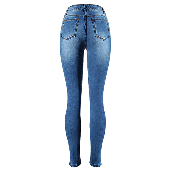 Women-High-waisted-full-length-skinny-jeans-broken-knee-sculpt-slim-washed-Q8Y2