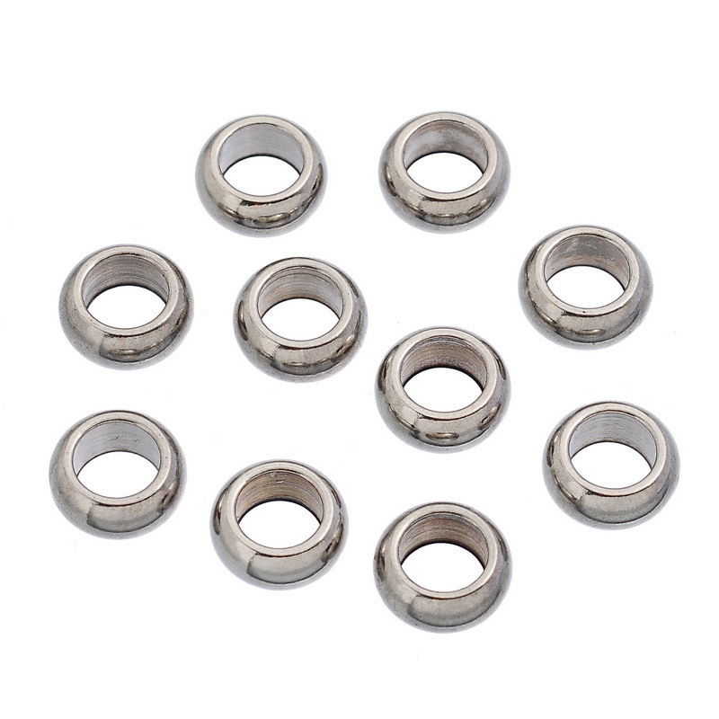 10PCs-Stainless-Steel-Big-Hole-Beads-Silver-Tone-11mm-N6R8