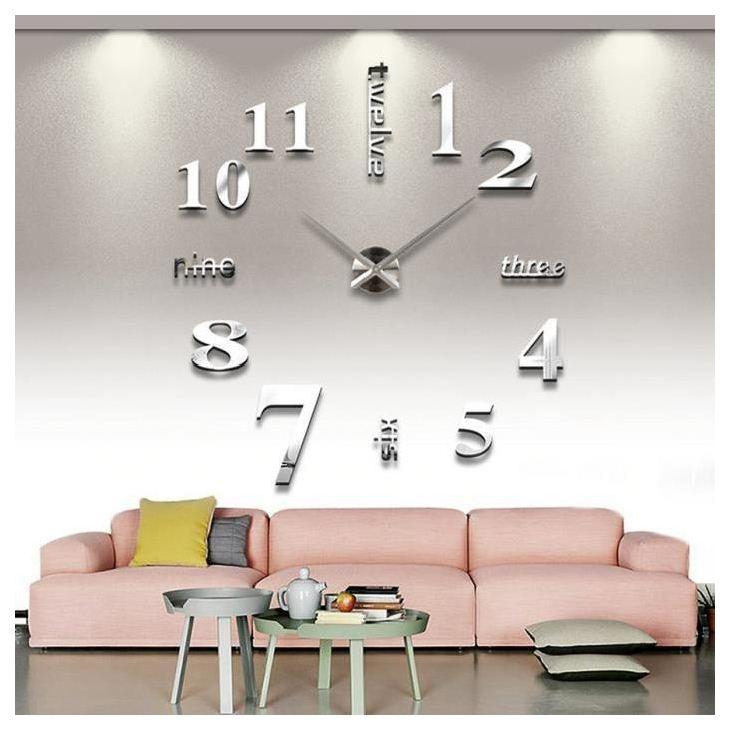 Silver Plastic 3d Mirror Wall Clock Modern Trendy