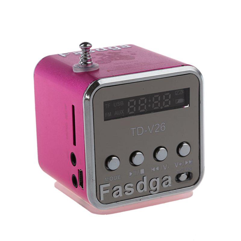 5X(Fasdga TD-V26 Portable Mini Digital Speaker with FM antenna (Pink) S6H2)
