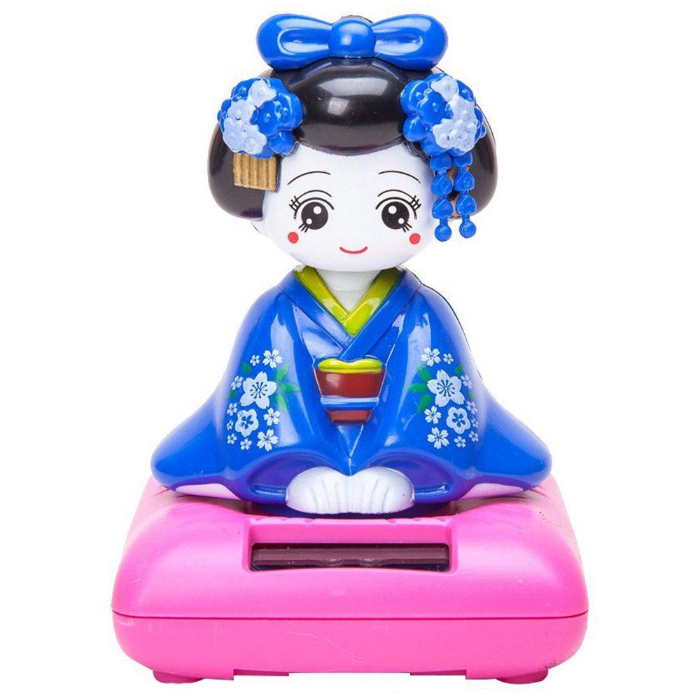 Solar-Powered-Bobblehead-Toy-Figure-Japanese-Kimono-Maiko-Geisha-Blue-A3Z5