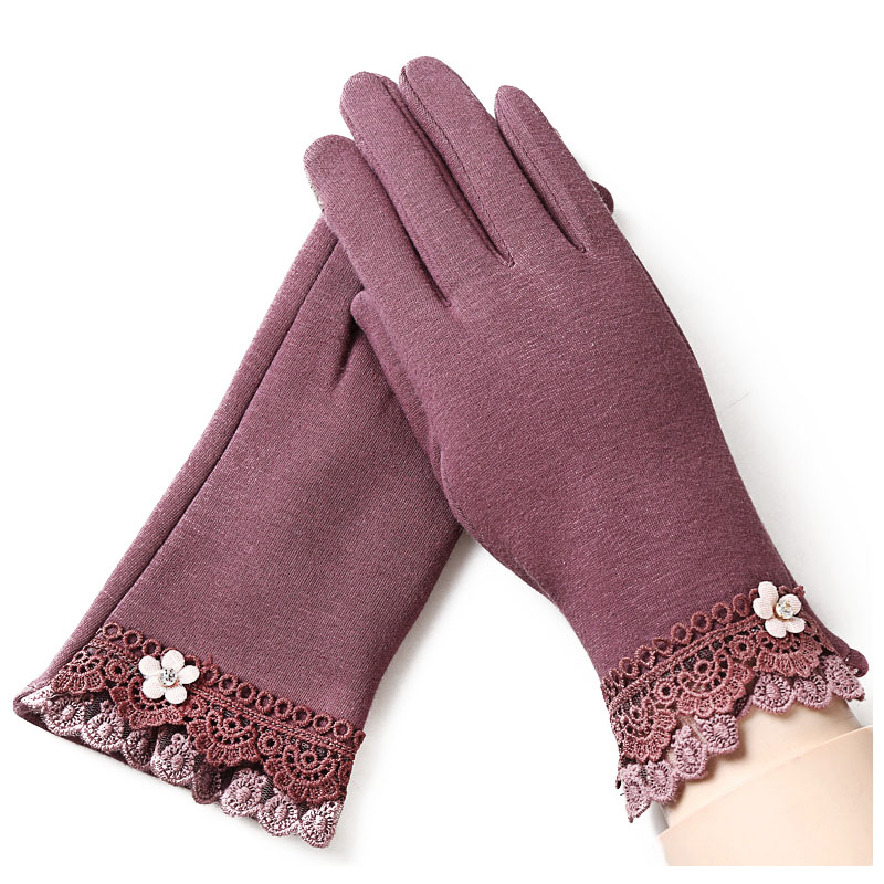 Ladies-Fashion-Winter-Outdoor-Sports-Warm-Gloves-Lace-Gloves-Bean-Paste-Col-V2O6