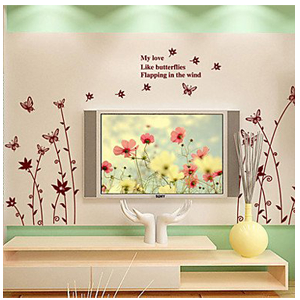 cool-Wall-Stickers-Wall-Decals-Style-Butterfly-Catkins-PVC-Wall-Stickers-W4F6