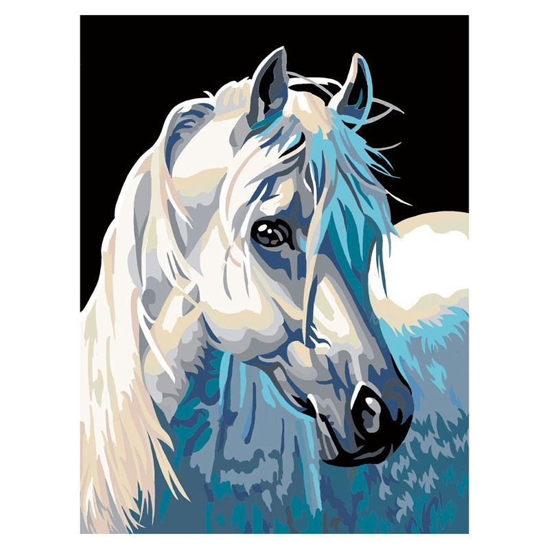 DIY-Painting-painting-by-number-kits-White-horse-16x20-inch-Frameless-V6A6