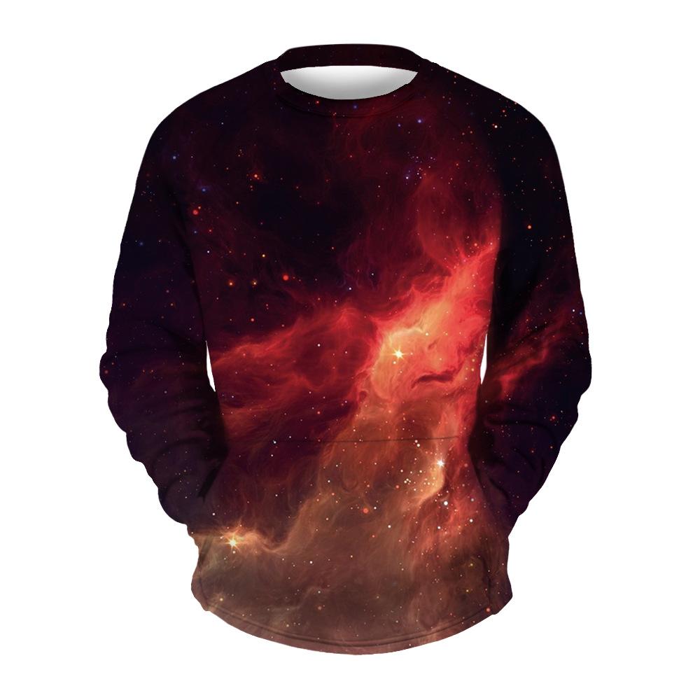 Мужской свитшот с круглым вырезом воротника и 3D принтом космическая галактика (красный, XXL-XXXL / US-42-44 / UK-42-44)