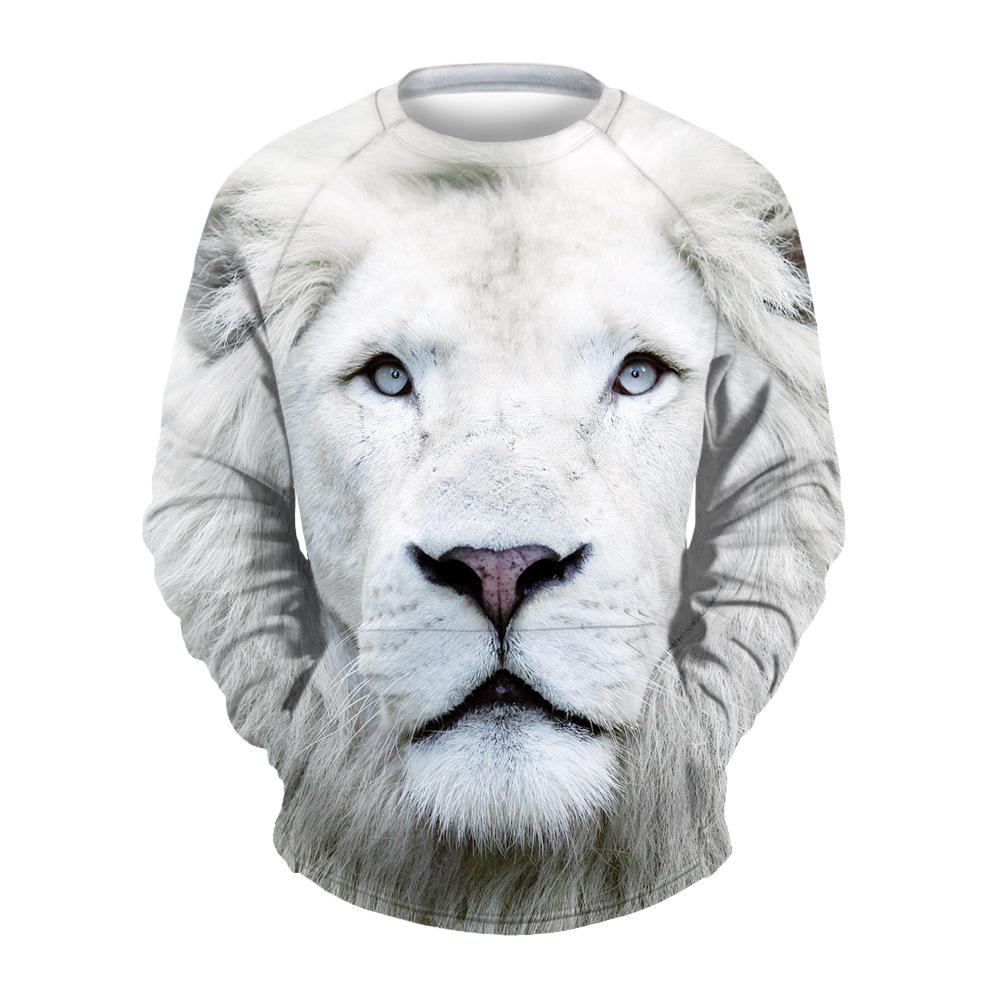 Повседневный мужской свитшот с 3D принтом лев и круглым вырезом воротника (бежевый, XXL-XXXL / US-42-44 / UK-42-44)
